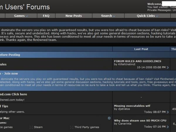 Steam Forums Apparently Hacked.